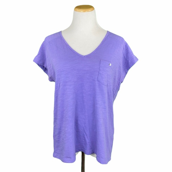 J. Jill Purple Easy V-Neck Tee